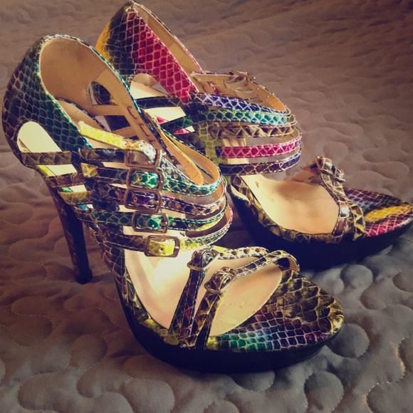 Shoes   Multi Colored Snakeskin Heels   Poshmark